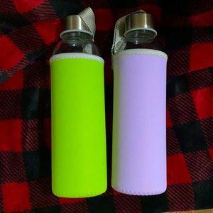 18 ounce glass water bottles with neoprene slips